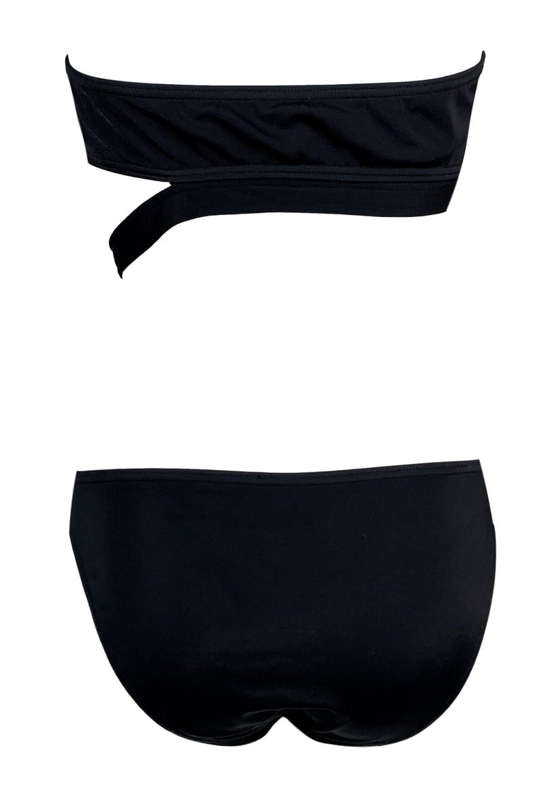 1998 Gucci Tom Ford Black Strapless Cut-Out Bikini w Metal G Buckle In Good Condition For Sale In Yukon, OK