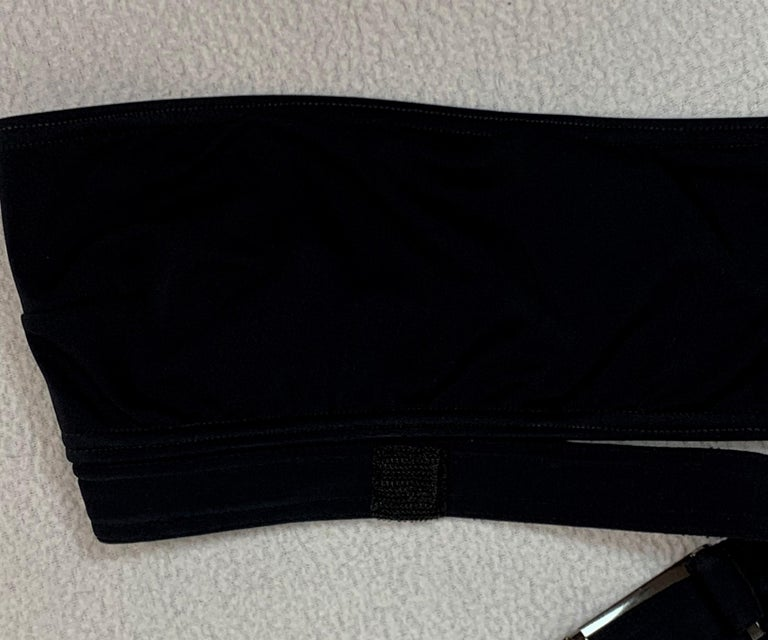 1998 Gucci Tom Ford Black Strapless Cut-Out Bikini w Metal G Buckle For Sale 3