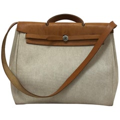 1998 HERMES Large Beige Canvas and Tan Leather Herbag w/Canvas Protector
