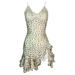 1998 John Galliano Ivory Silk Floral Can-Can High Slit Lace Mini Dress