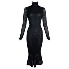 1998 John Galliano Semi-Sheer 1940's Pin-Up Style Wiggle Mermaid Dress
