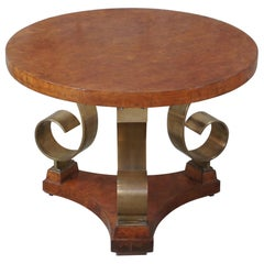 1998 Neoclassical Olive Burl and Scrolled Brass Round Gueridon Side Accent Table