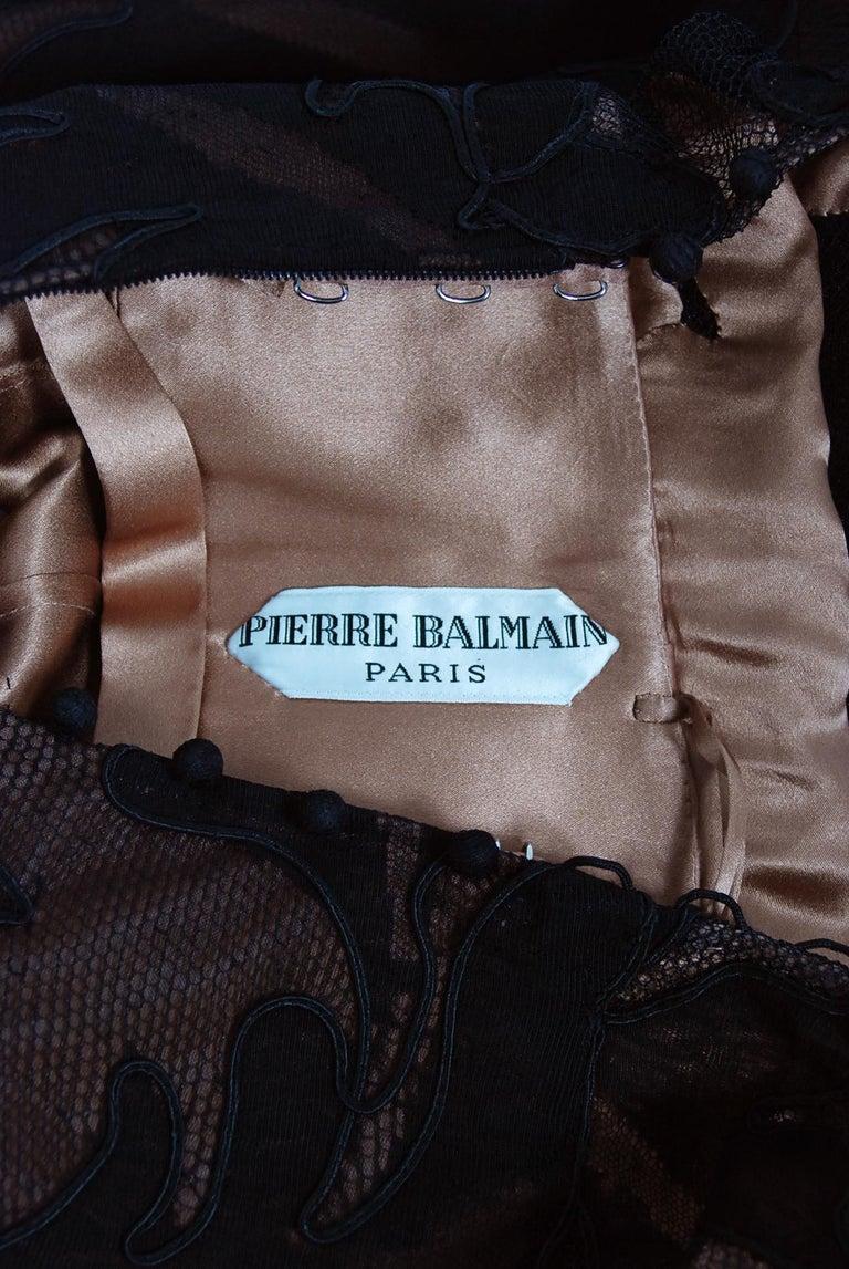 1998 Pierre Balmain Haute Couture Sheer Illusion Appliqué Black Tulle Lace Gown For Sale 7