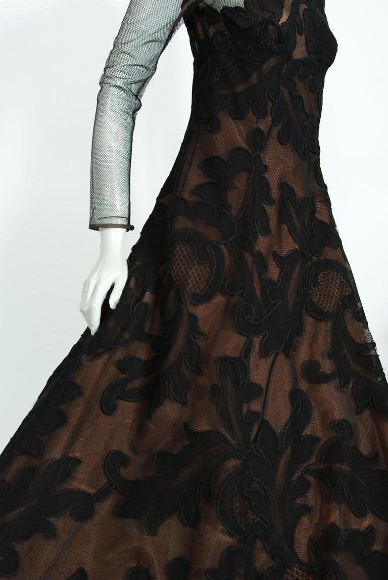 1998 Pierre Balmain Haute Couture Sheer Illusion Appliqué Black Tulle Lace Gown For Sale 1