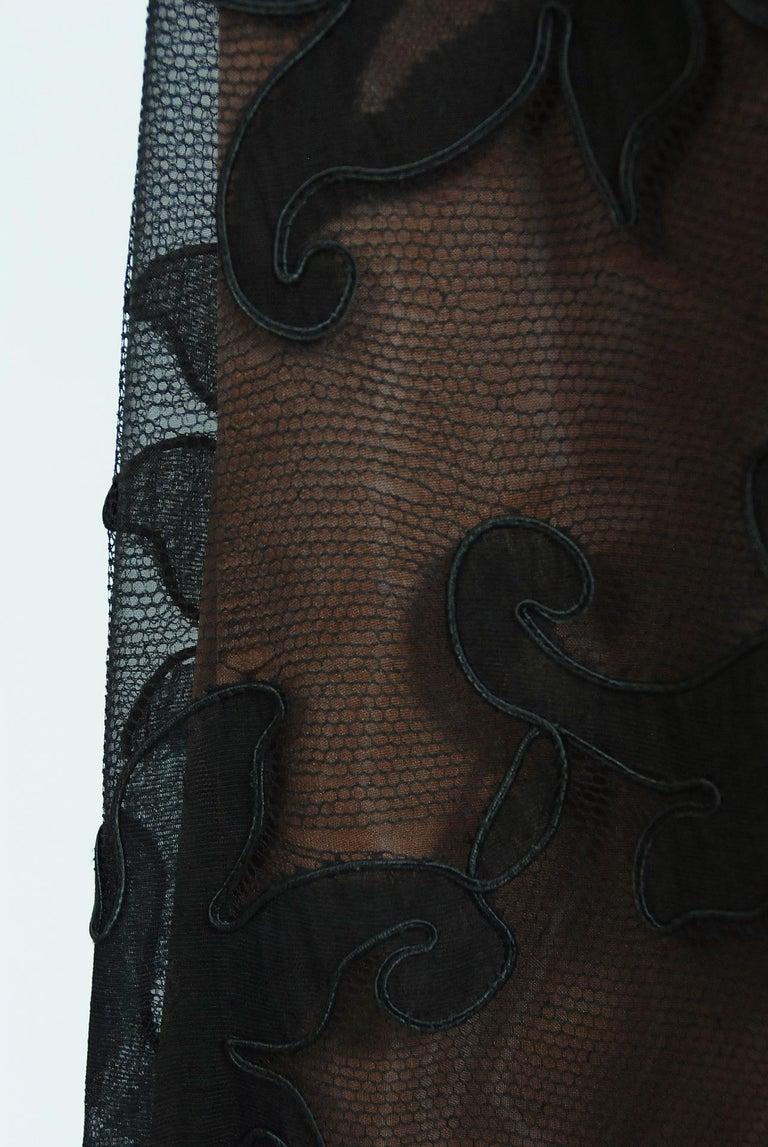 1998 Pierre Balmain Haute Couture Sheer Illusion Appliqué Black Tulle Lace Gown For Sale 2