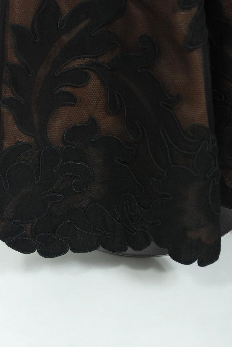 1998 Pierre Balmain Haute Couture Sheer Illusion Appliqué Black Tulle Lace Gown For Sale 3