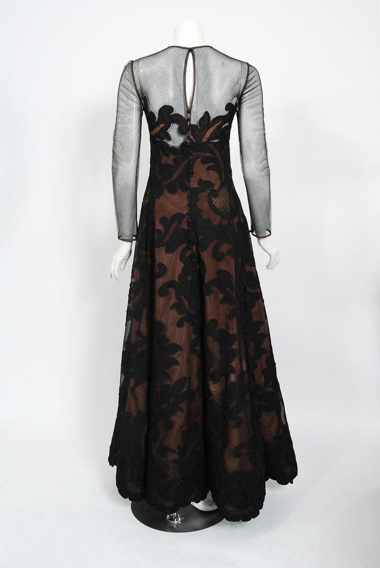 1998 Pierre Balmain Haute Couture Sheer Illusion Appliqué Black Tulle Lace Gown For Sale 4