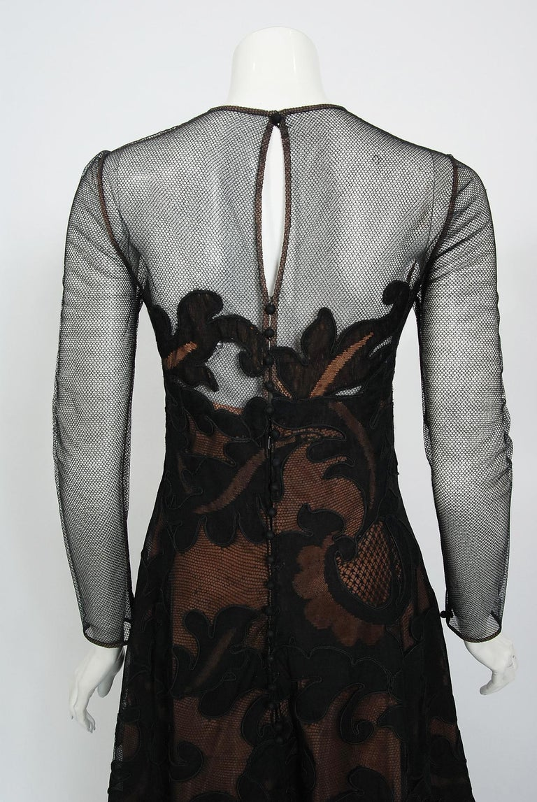 1998 Pierre Balmain Haute Couture Sheer Illusion Appliqué Black Tulle Lace Gown For Sale 5