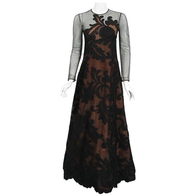 1998 Pierre Balmain Haute Couture Sheer Illusion Appliqué Black Tulle Lace Gown For Sale