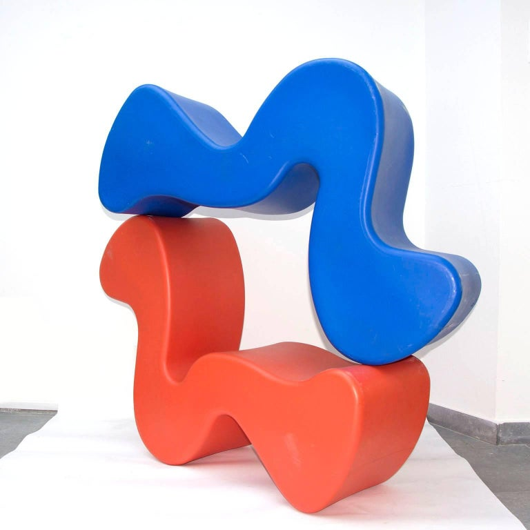 Set of five phantoms. Original set of phantom chairs or tables in plastic including marks and stamps. Multiuse chair, bench, table designed by Verner Panton. By rotating the form you can change its function; high back lounge chair, deep seated