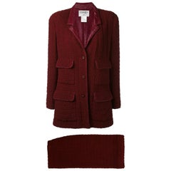 1998s Chanel Bordeaux Tweed Suit