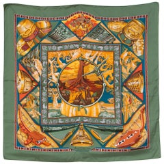 1998s Hermes Au Son du Tam Tam by Laurence Bourthoumieux Toutsy Silk Scarf