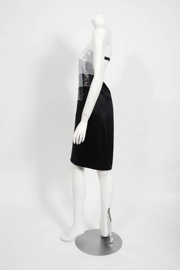 Vintage 1999 Alexander Mcqueen for Givenchy Sequin Silk Strapless Backless Dress For Sale 2