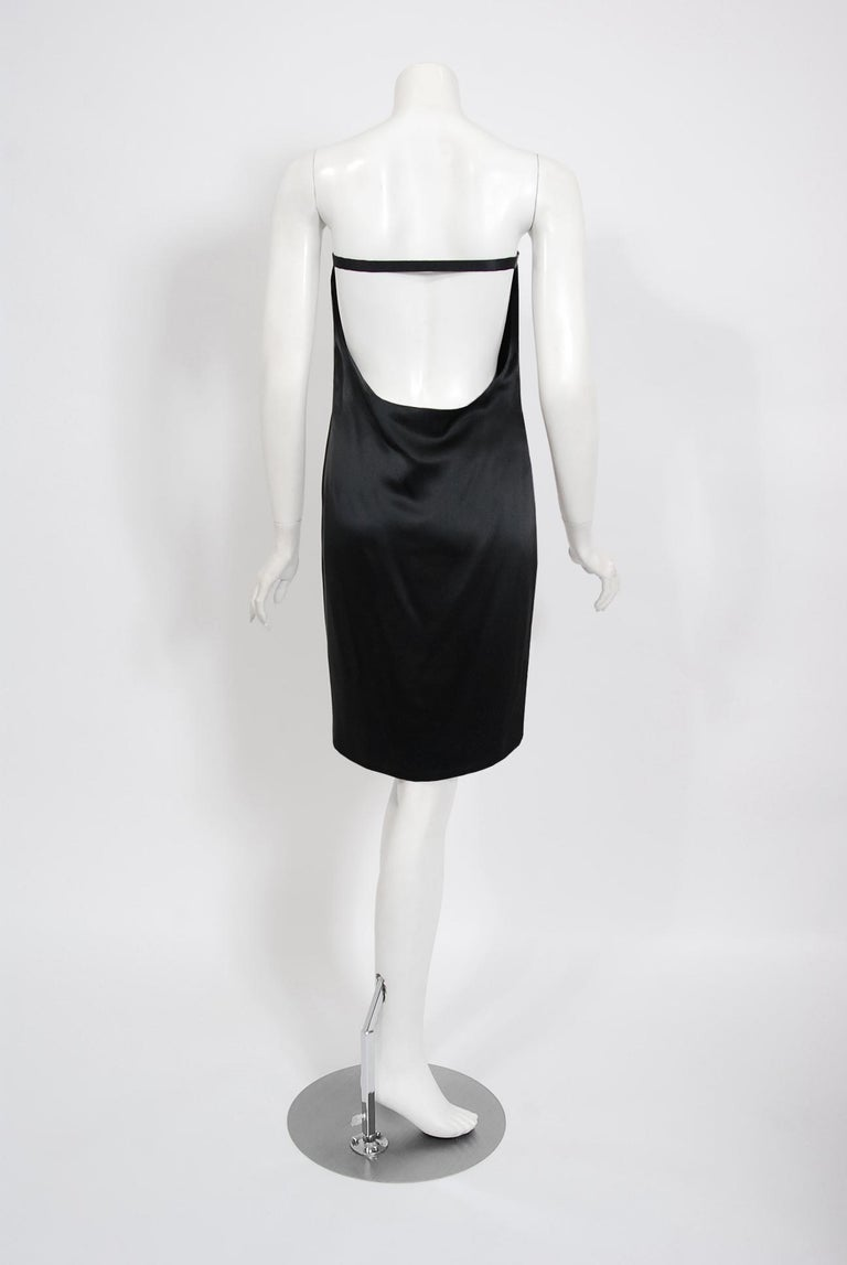 Vintage 1999 Alexander Mcqueen for Givenchy Sequin Silk Strapless Backless Dress For Sale 3