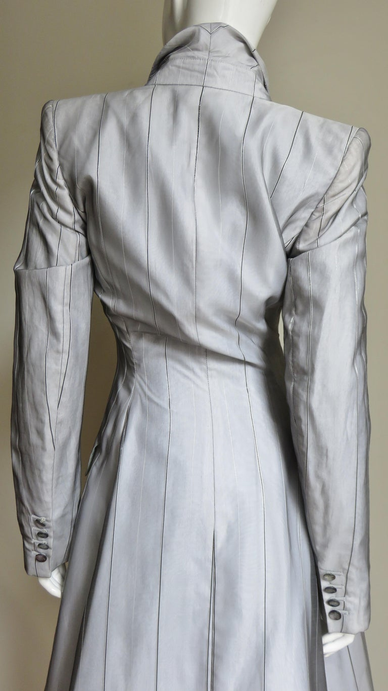 Alexander McQueen New 1999 Silk Shirt and Long Jacket For Sale 8