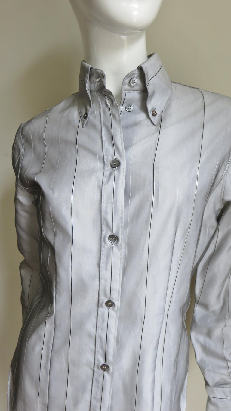 Gray Alexander McQueen New 1999 Silk Shirt and Long Jacket For Sale