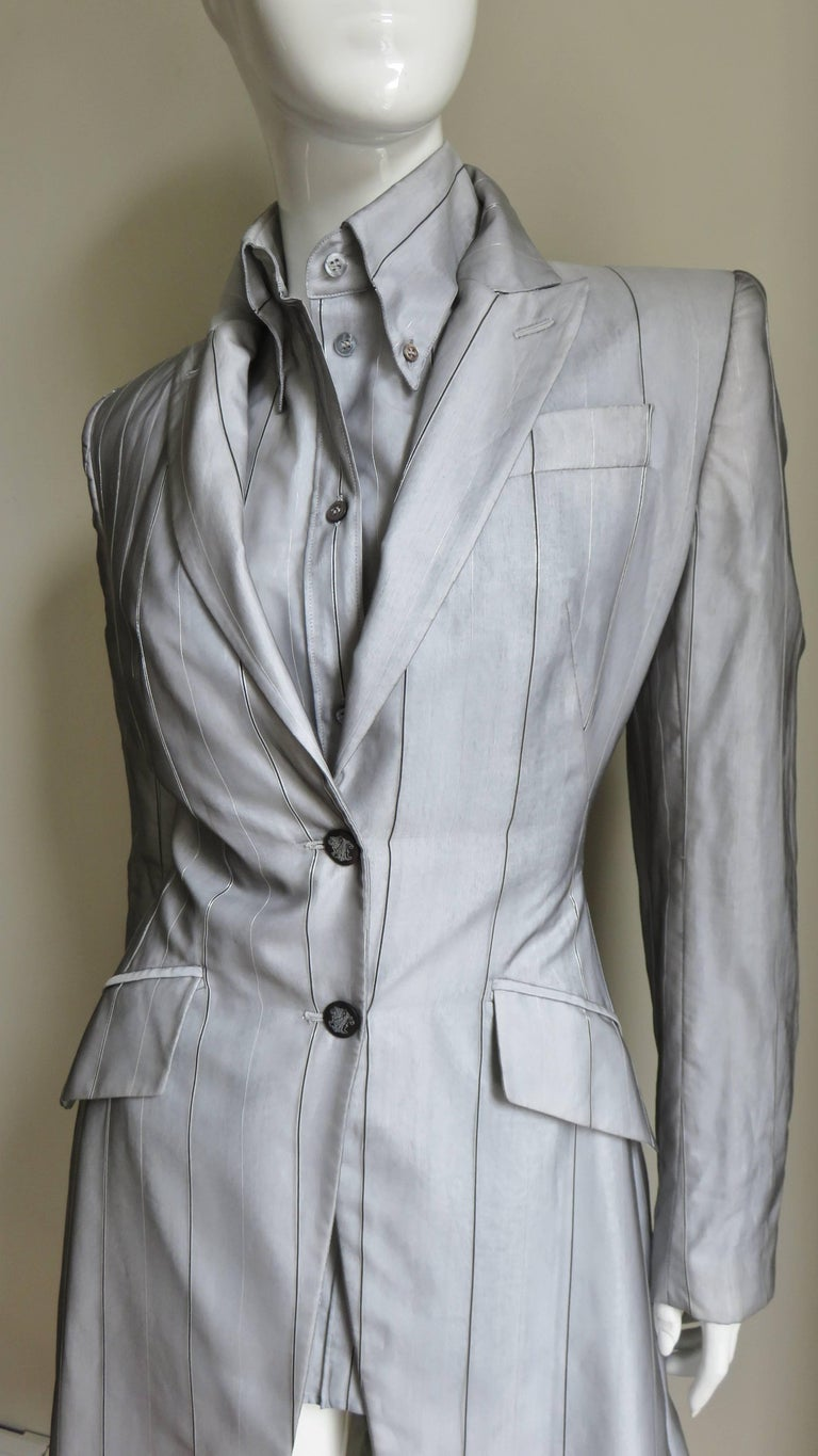Alexander McQueen New 1999 Silk Shirt and Long Jacket In Good Condition For Sale In New York, NY