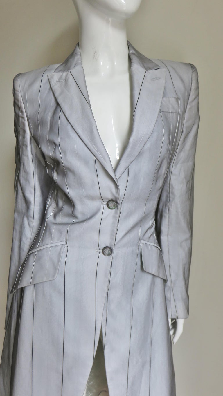 Alexander McQueen New 1999 Silk Shirt and Long Jacket For Sale 2