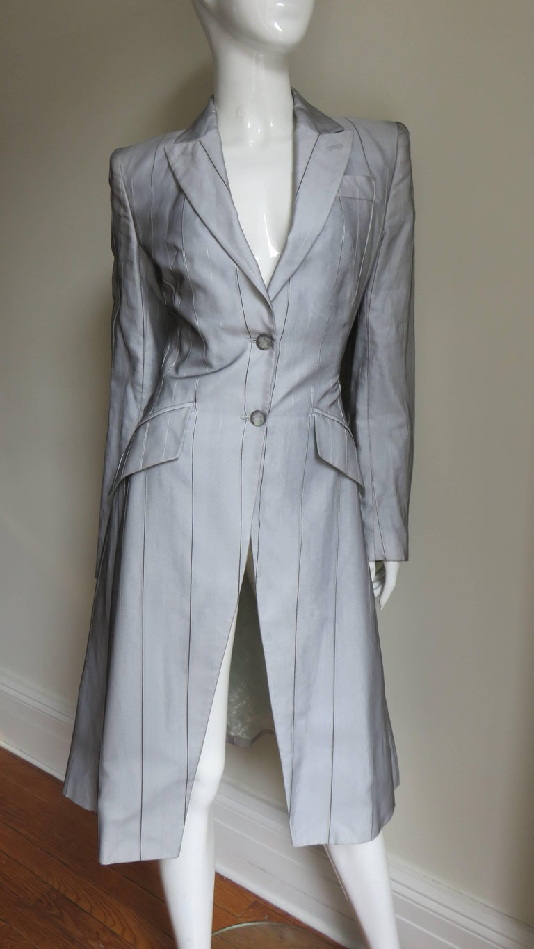 Alexander McQueen New 1999 Silk Shirt and Long Jacket For Sale 3