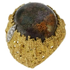 1999 Andrew Grima Dendritic Agate, Diamond and Textured Gold Ring