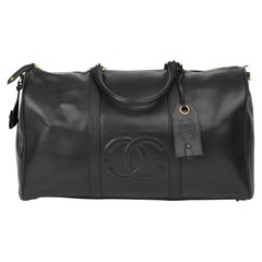 1999 Chanel Black Caviar Leather Vintage Boston 50