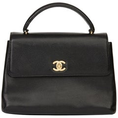 1999 Chanel Black Caviar Leather Vintage Classic Kelly