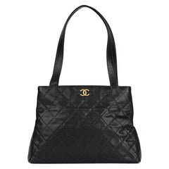 1999 Chanel Black Quilted Caviar Leather Classic Shoulder Bag