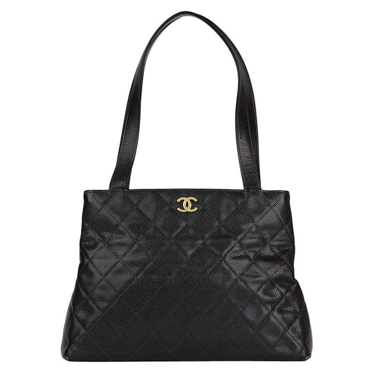 1557a906bb22 1999 Chanel Black Quilted Caviar Leather Classic Shoulder Bag For Sale