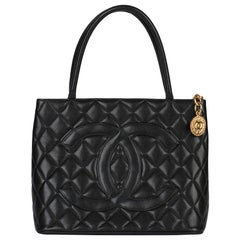 1999 Chanel Black Quilted Caviar Leather Vintage Medallion Tote