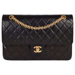 1999 Chanel Black Quilted Lambskin Leather Vintage Classic Double Flap Bag