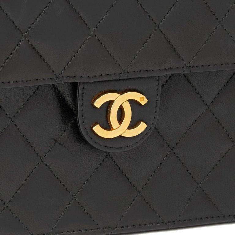 1999 Chanel Black Quilted Lambskin Vintage Medium Classic Single Flap Bag  3