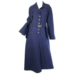 1999 Chanel Blue Wool Coat with Halter Pocket Belt