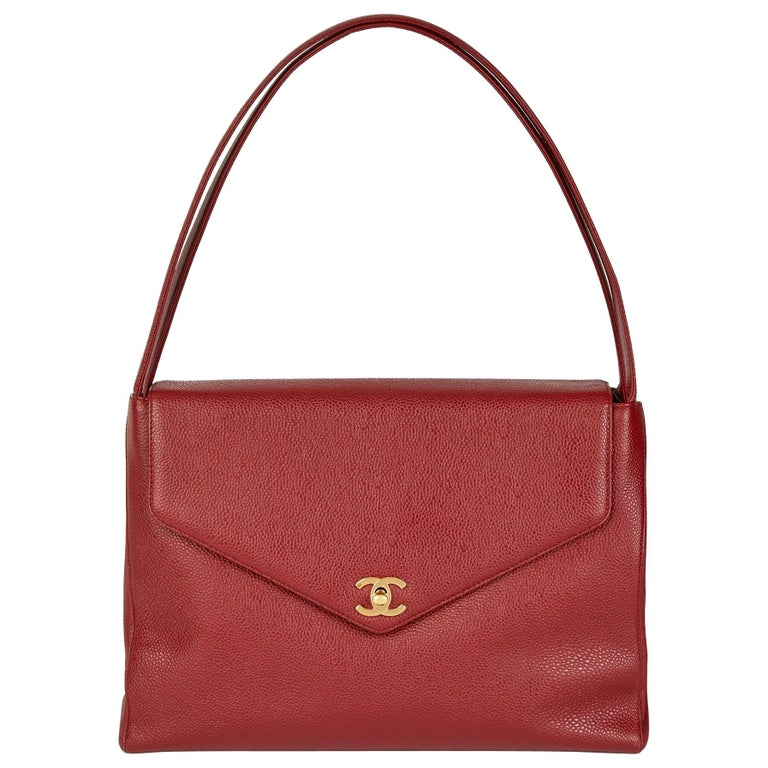 1999 Chanel Burgundy Caviar Leather Vintage Classic Shoulder Bag  For Sale