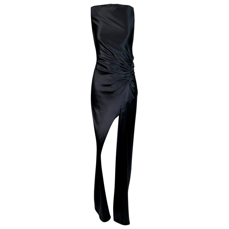 1999 Gucci by Tom Ford Black Satin Ruched High Neck High Slit Gown Dress For Sale