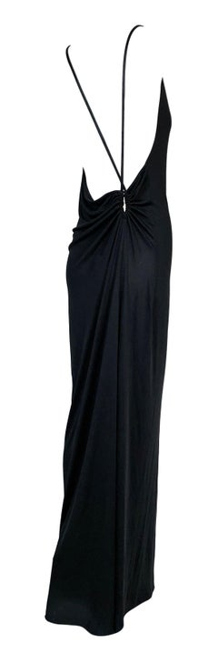 1999 Gucci by Tom Ford Black Slinky Backless Long Column Gown Dress 42