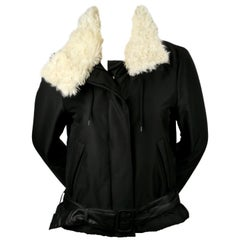 1999 HELMUT LANG black Boa jacket with removable collar