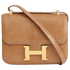 1999 Hermès Sesame Shiny Lizard Leather Vintage Constance 23