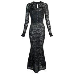 S/S 1999 John Galliano Sheer Black Knit Mermaid Dress & Cardigan Set
