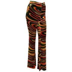 1999 Tom Ford for Gucci Psychedelic Swirl Print Silk-Velvet Bell Bottom Pants