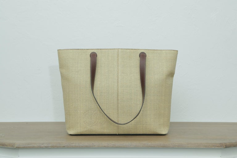 1999s Chanel Straw Tote Beige In Excellent Condition For Sale In West palm beach, FL