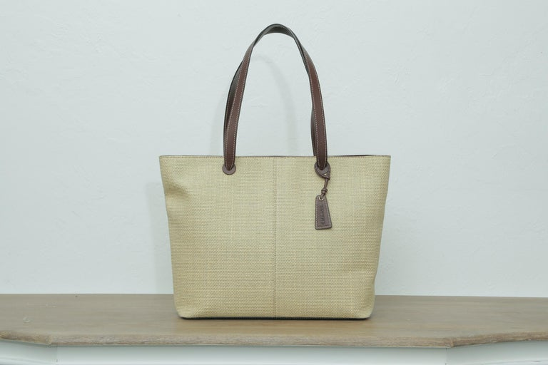 1999s Chanel Straw Tote Beige For Sale 1