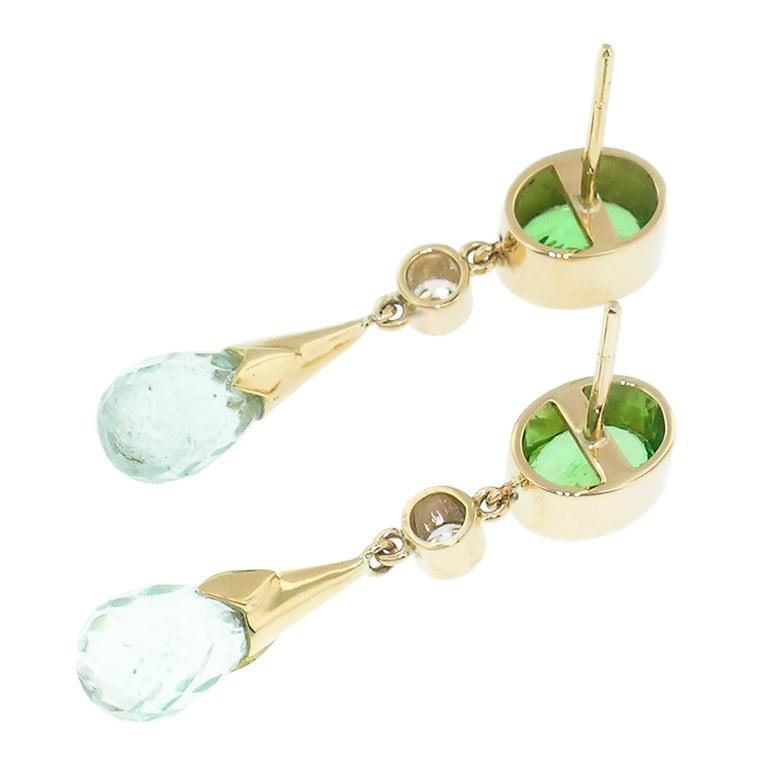 Briolette Cut 1.99ct Tsavorite Garnet + 4.94ct Mint Tourmaline 18kt Earrings by Cynthia Scott For Sale