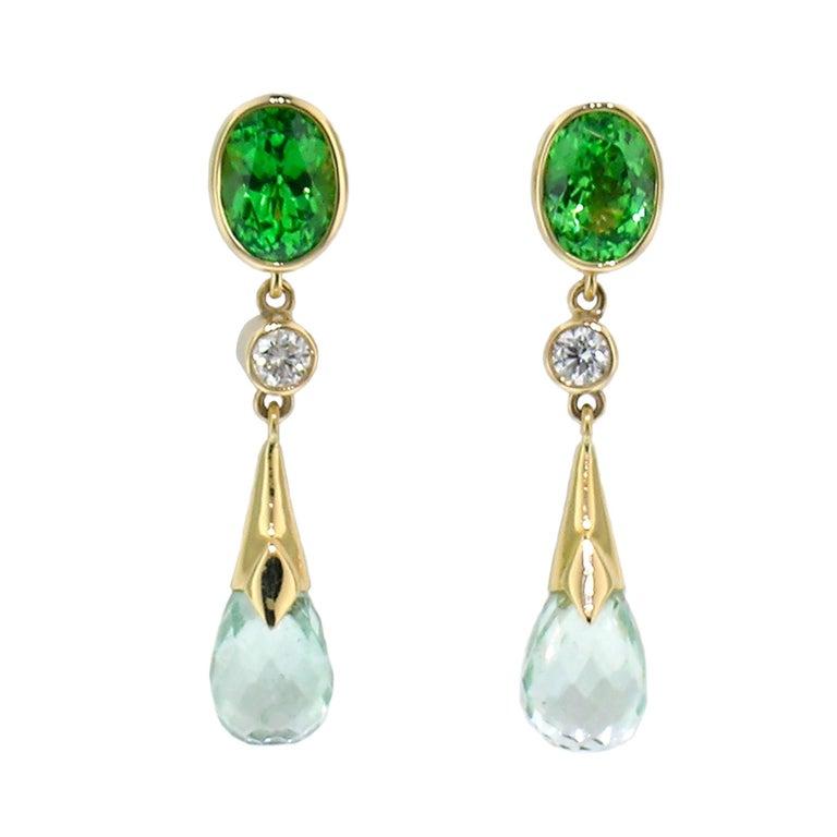 1.99ct Tsavorite Garnet + 4.94ct Mint Tourmaline 18kt Earrings by Cynthia Scott In New Condition For Sale In Logan, UT