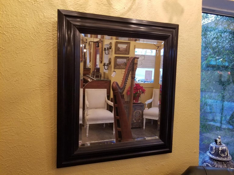 Presenting a stunning mid-late 19th century American ebony mirror with bevelled glass.  From circa 1860-1880.  This beautiful mirror is solid ebony and is quite heavy as a result. Beautifully crafted with original bevelled mirror glass.
