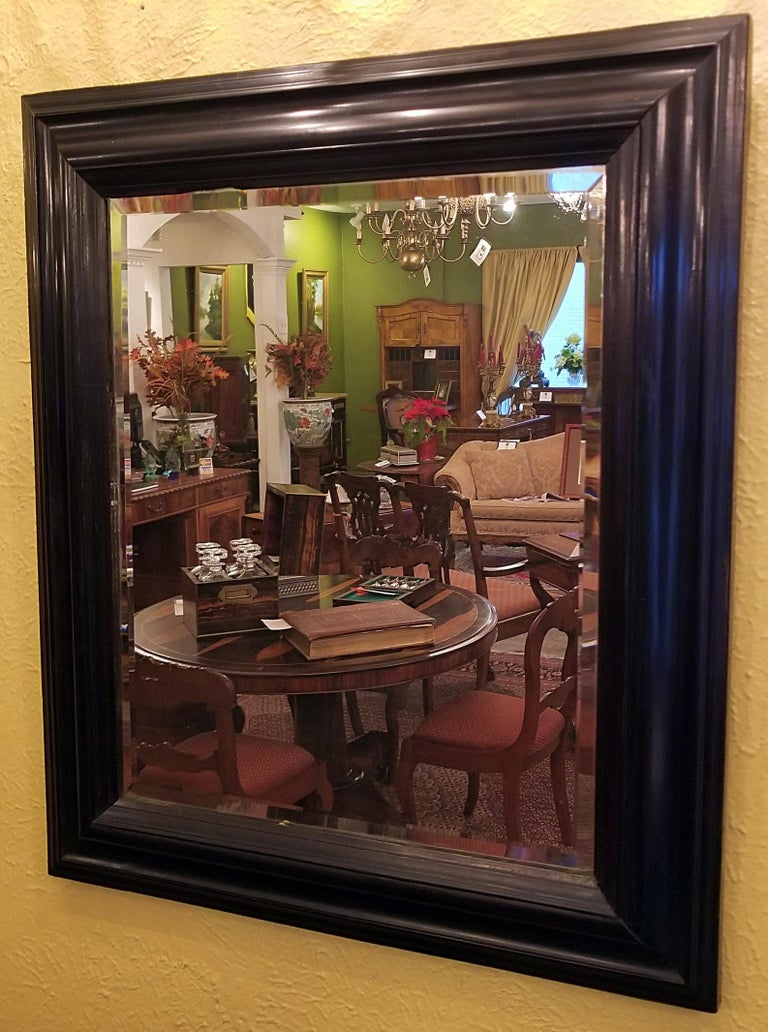 American Classical 19th Century American Ebony Mirror with Bevelled Glass For Sale