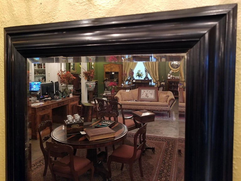 Beveled 19th Century American Ebony Mirror with Bevelled Glass For Sale