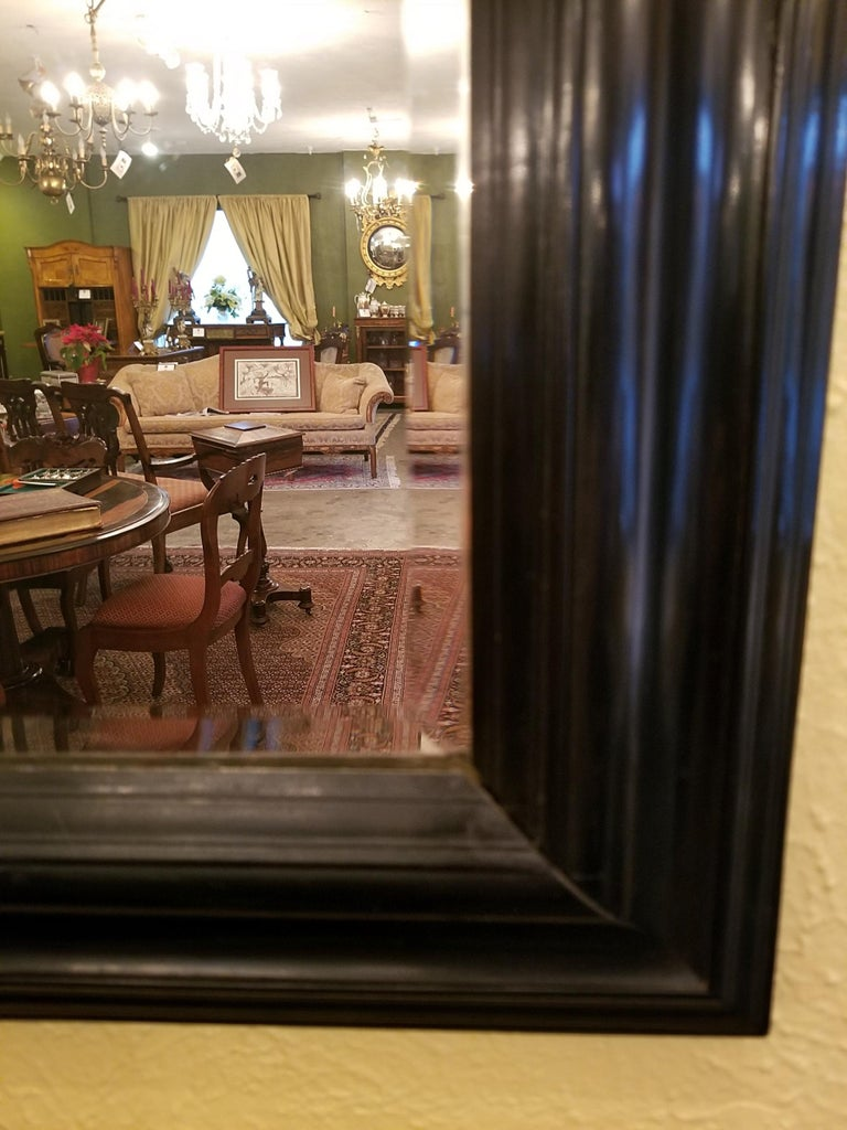 19th Century American Ebony Mirror with Bevelled Glass In Fair Condition For Sale In Dallas, TX