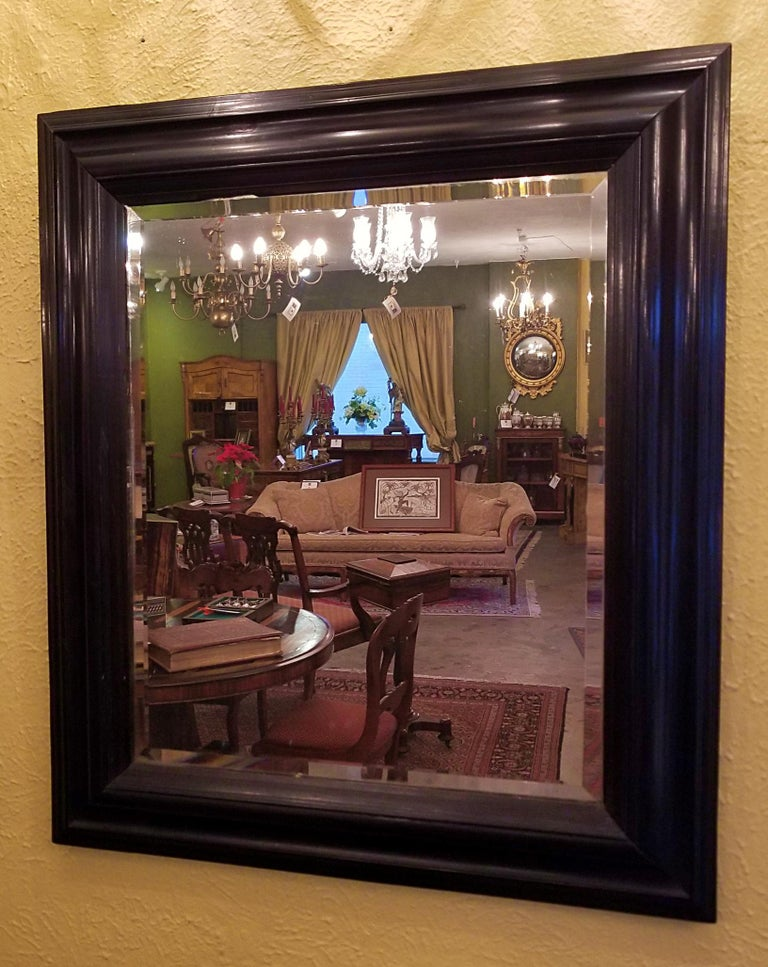19th Century American Ebony Mirror with Bevelled Glass For Sale 1