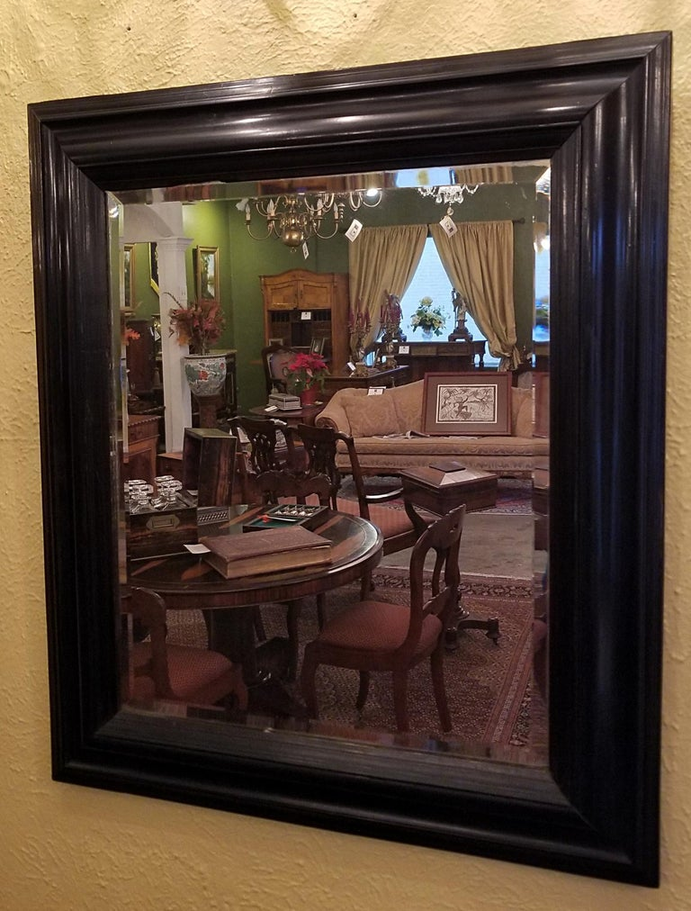 19th Century American Ebony Mirror with Bevelled Glass For Sale 2