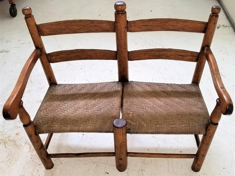 Presenting a glorious piece of American history!  This is a 19th century American walnut wagon seat from, circa 1860-1970.  Made of hand-turned walnut and the seat is covered with its original reeding.  In amazing condition considering its age